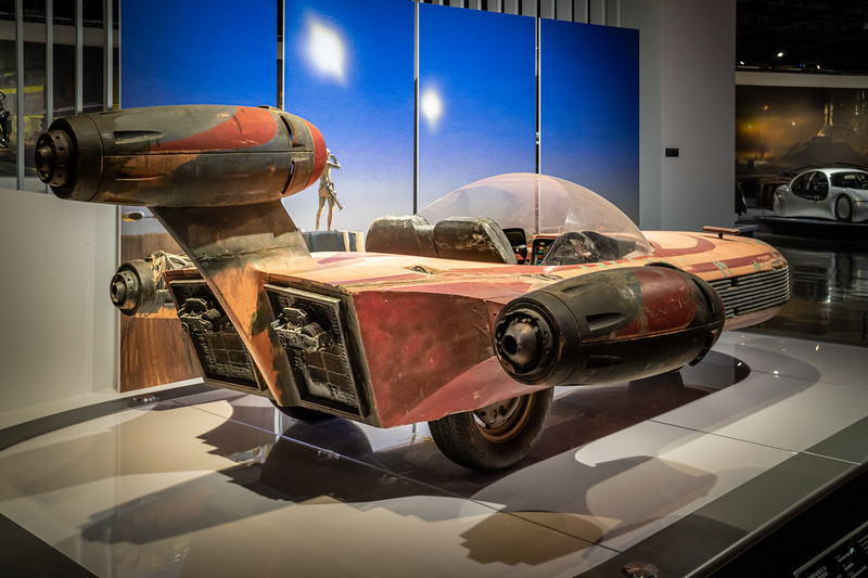 Landspeeder, on loan from the under construction Lucas Museum of Narrative Arts