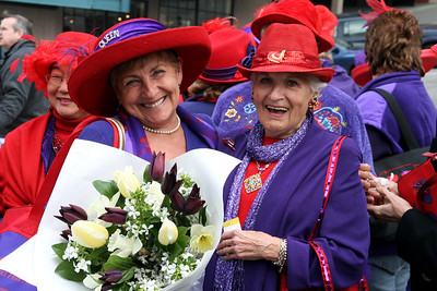Ladies of the Red Hat Society at Pike Place Market