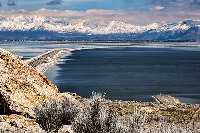 Salt Lake and Mountains