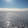 Pack ice breaking up in Olga Strait, Svalbard