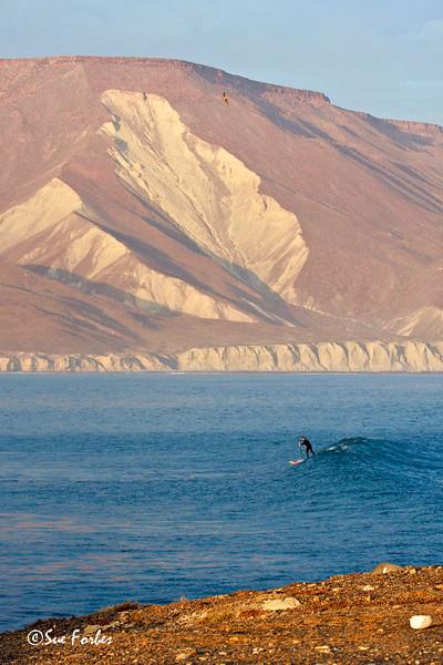Lone paddler<br /> Stand up paddle boarding at Punta San Carlos, Baja Peninsula, Mexico