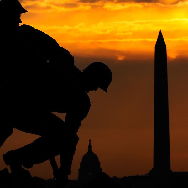 US Capitol, Washington Monument, Iwo Jima,  Sunrise