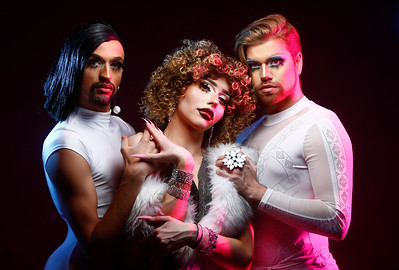 From left, iLana Jaxxx'n, also known as Lane Pascall, Summer Smalls, also known as Ethan Smith, and Regina Jaxxx'n, also known as Rick Hibbs, will be among the performers in the lineup for the 90's Drag Show hosted by The Countship of the Imperial Sovereign Court of the State of Montana in Billings, Mont. on Saturday, March 9, 2019.