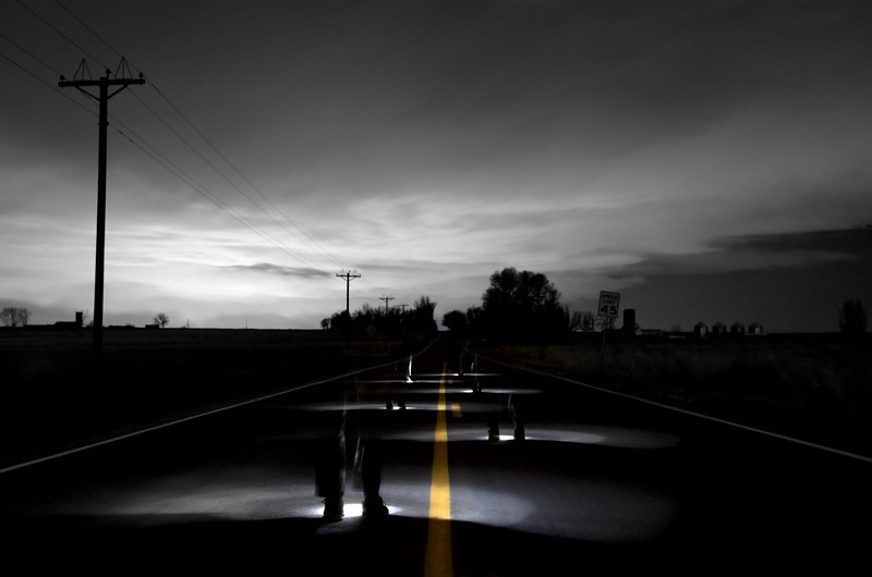 Another photo from a few months ago.  This is me playing with a spotlight on some country road by my house.  It was a long exposure - I would hold the spotlight in one place for 2 seconds and move to the next spot and repeat.  There was a snow storm moving in, hence the cool clouds in the background.  Denver, CO is what provides the backlight in the clouds.  Denver is probably 30-40 miles away from longmont.