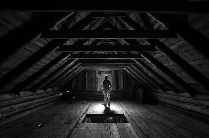 Good ol' fashioned self portrait - This is the loft of one of the barns we maintain at Work. I'll post a photo of this barn sometime later in the week.