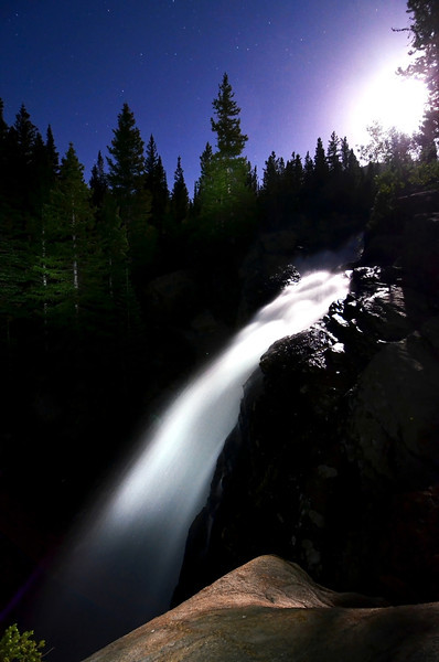Alberta Falls in RMNP under the supermoon