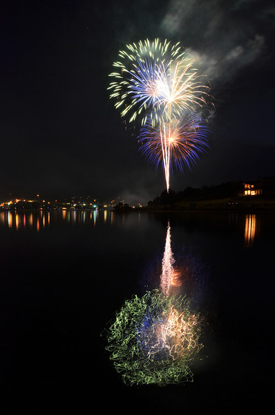 Yeah firework photos!!  I used a longer exposure in this photo than I did on most of the other ones I took this night and it made the reflection in the lake look so crazy!!  I love it!