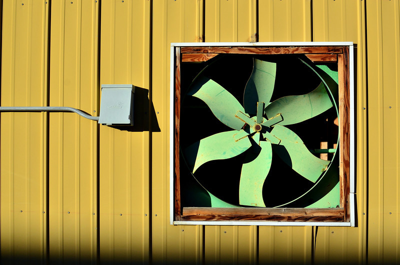 Stanky Poo Fan - This is one of a few dozen giant fans used to do nothing but blow out the poo stink of 50,000 chickens