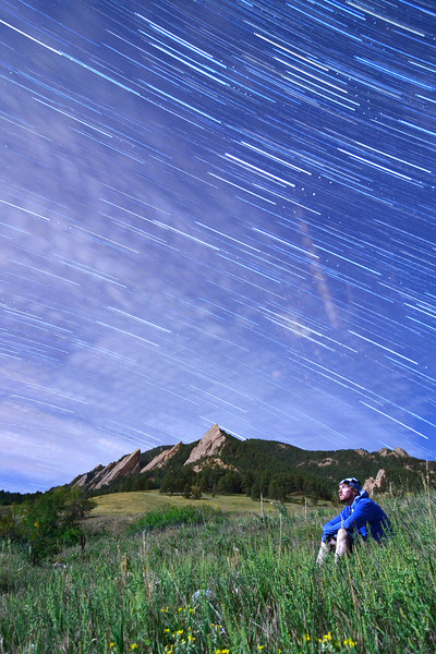 The self portrait shot from the other day was 1 out of 103 - 25 second shots.  I finally merged the other 102 photos to get a sweet self portrait with star trails!
