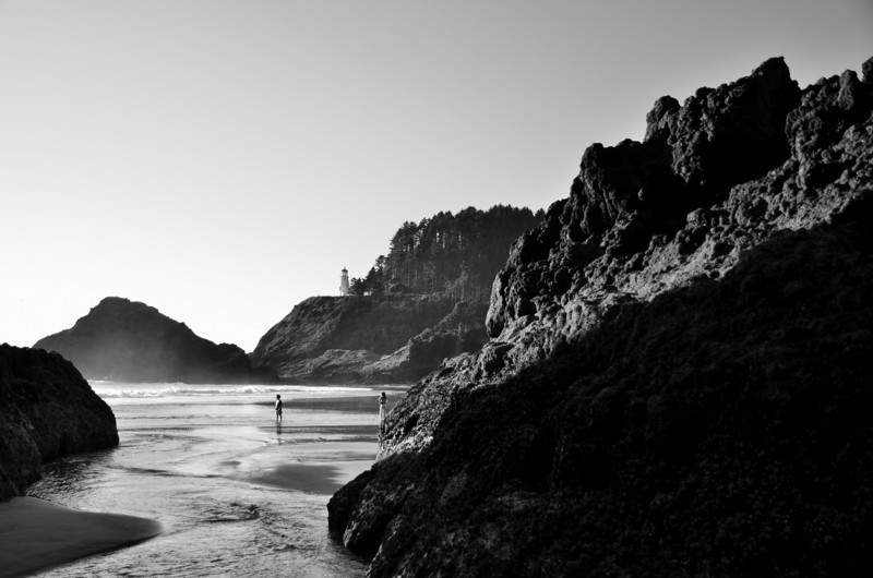 Here is a B&W of the Haceta Head Light House.  We got lucky and showed up at the peak of low tide, and at sunset.  Made for some great shadows and exposed some cool features that would be well underwater at high tide.  I have no idea who these children are that ran into my frame, but they placed themselves perfectly composition wise haha.