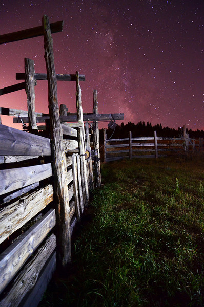 Old and Older - A 130 year old fence at Walker Ranch under the 13.2 billion year old Milky Way