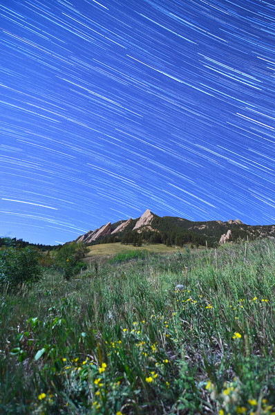 The Icon of Boulder, CO - The Flatirons under a full moon.  150 shots at 20 seconds made up this 50 minute exposure.