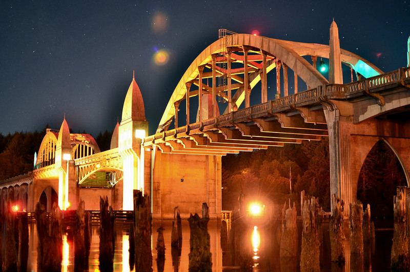 Florence, Oregon's historic bridge, this is the night shot.  I took a few where I exposed the bridge correctly, and you didn't get the flare.  But just for fun I decided to try and over expose the bridge at night - this was the result!