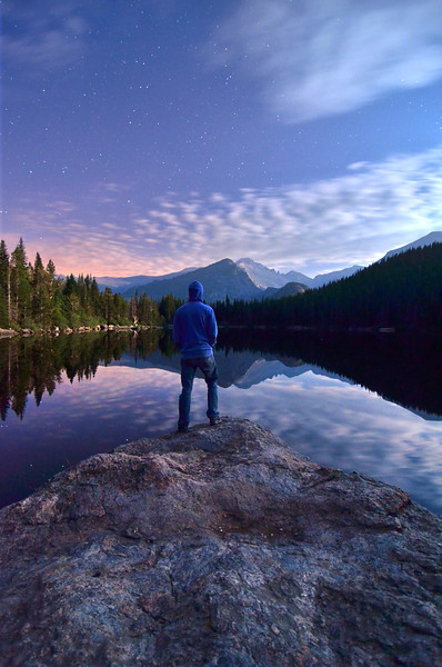 Been awhile since I've done a self portrait shot -  This was taken around midnight up in Rocky Mountain National Park.  Going there in the middle of the night is the only time there isn't a single other person around and you have the entire park to yourself; a moment rarely had in such a popular and beautiful place as this.  So peaceful :)