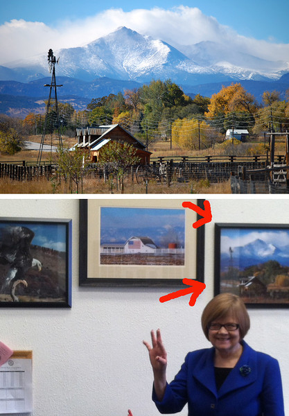 I recently found out that one of my photos is now hanging in the Colorado State Capitol building down in Denver!!   <br /> This is a shot of State Rep. Hullinghorst standing proudly next to her new wall art.  <br /> <br /> I'm so excited!! :-D