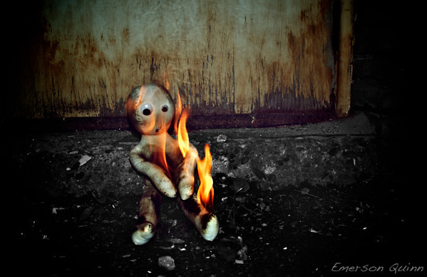 Doll on fire