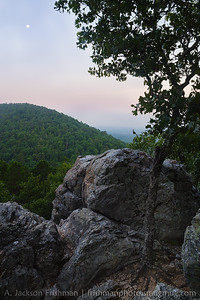 Moonrise over West Mountain, Hot Springs National Park, Arkansas.