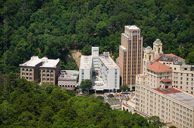 Downtown Hot Springs and the Arlington Hotel viewed from Tower Mountain, Hot Springs National Park.