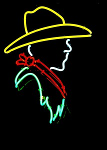 Neon Cowboy!!!  This is from one of the gift shops on the square in Santa Fe, New Mexico.  I love neon, and this is one of my favorites.