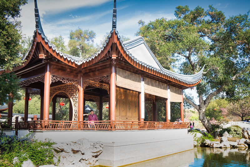 Pavilion beside the lake, part of the Huntington's Chinese Garden