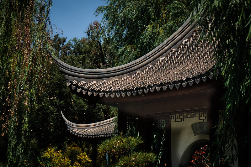 Red tiled roof lines, the Chinese Garden at the Huntington