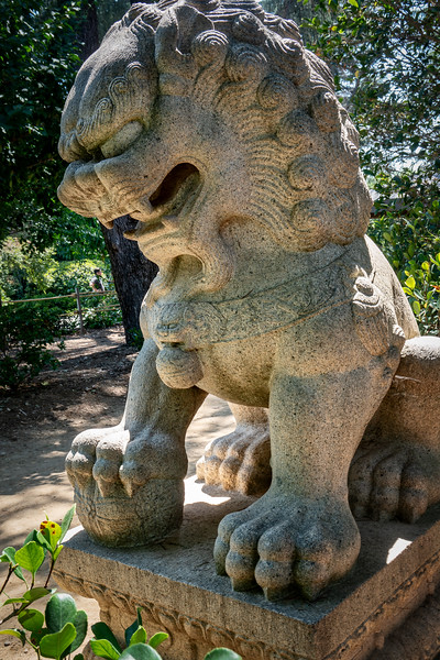 Stone lion at the entrance to the Chinese Garden