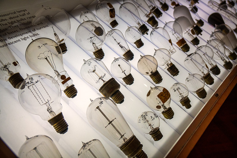 A display of historical lamps and light bulbs at the Huntington Library