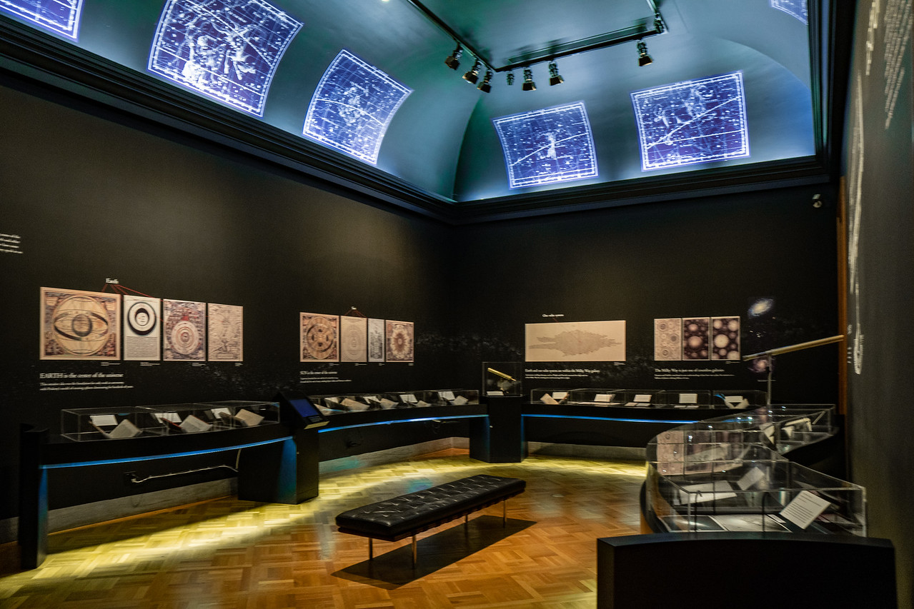The Astronomy room at the Huntington Library's Beautiful Science exhibit