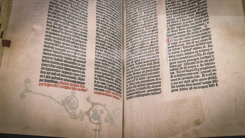 The Gutenberg Bible, printed around 1455.  The first major book printed in Europe.