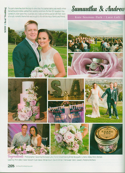 My wedding photographs published in San Diego Weddings Magazine!