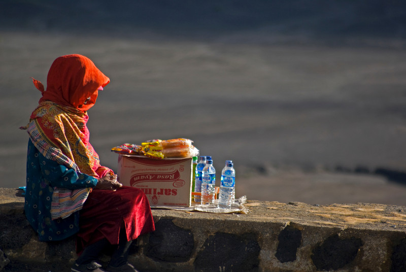 SELLER AT SUNRISE. BROMO VULCANO. JAVA. INDONESIA.