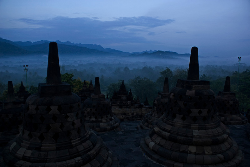 BOROBUDUR. EARLY MORNING VIEW FROM THE WORLD HERITAGE SITE AT THE JUNGLE. JAVA. INDONESIA.