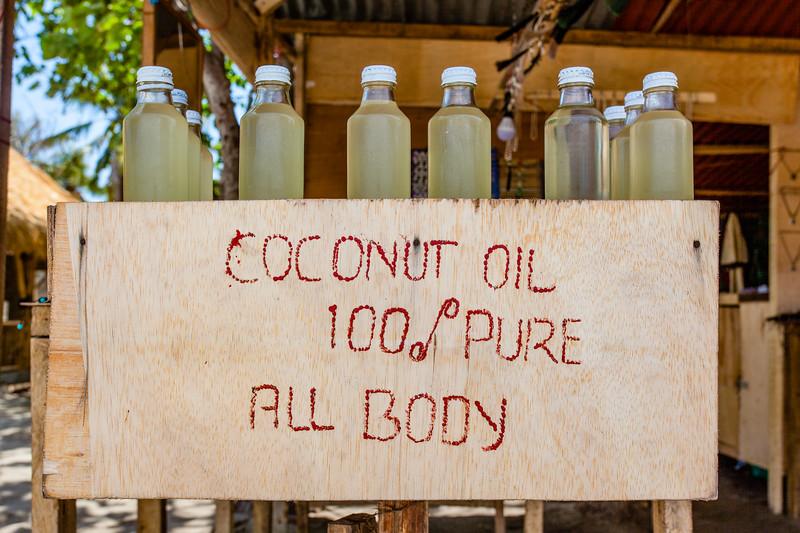 Biological coconut oil for sale, Gili Air, West Nusa Tenggara, Indonesia, Aisa