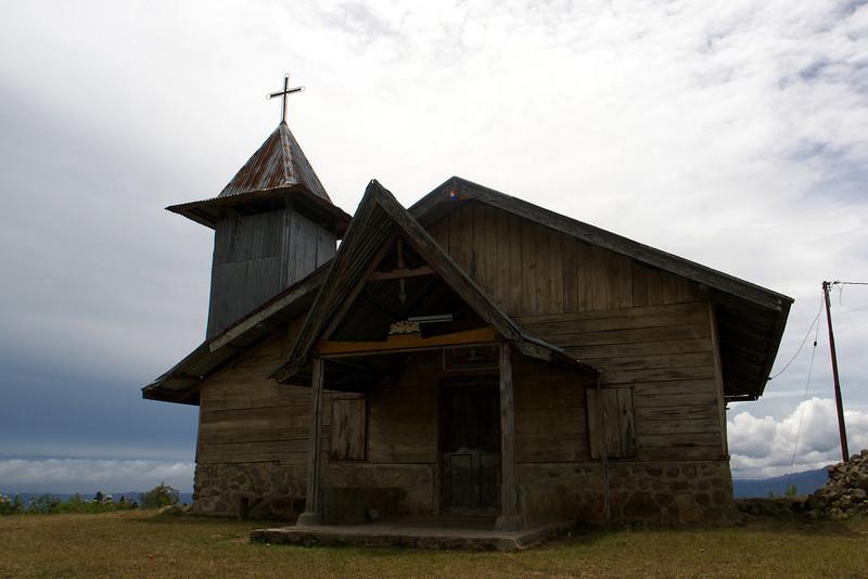 CHRISTIAN CHURCH. SAMOSIR ISLAND. LAKE TOBA. DANAU TOBA. SUMATRA. INDONESIA.