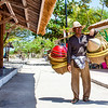 Bamboo hat seller in Gili Air island in West Nusa Tenggara, Indonesia, Asia