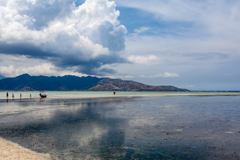 Sandy beach on Gili Air and view at the Bali Sea, Indonesia, Asia