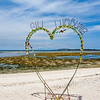 Sandy beach on Gili Air and a big Heart sign with view at the Bali Sea, Indonesia, Asia