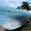 OLD BLUE BOAT. GILI AIR. LOMBOK. INDONESIA.
