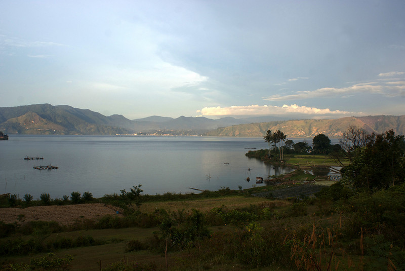 SUNSET AT LAKE TOBA. SAMOSIR ISLAND. SUMATRA. INDONESIA.