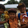 SUMATRA KIDS WITH WINNY THE POOH. SAMOSIR ISLAND. SUMATRA. INDONESIA.