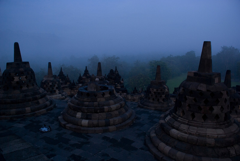BOROBUDUR. EARLY MORNING. JAVA.
