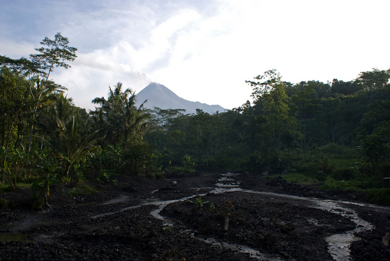 MERAPI. RIVER OF LAVA AFTER ERUPTION OF THE MERAPI VULCANO. JAVA. INDONESIA.