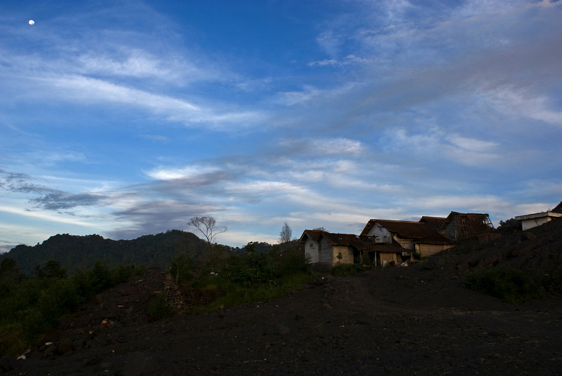 MERAPI VULCANO. EARLY MORNING IN LAVA LAND AT THE REMAINS OF THE DESTROYED VILLAGE. YOGYAKARTA. JAVA.