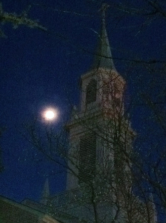 Church Steeple at Moonrise