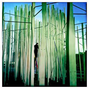 Public art sculpture under installation next to the Atlantic Wharf building, Boston, MA.