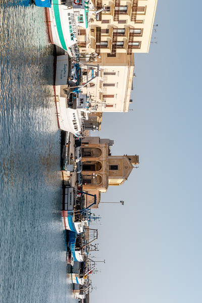 View at the harbor next to the old town of Gallipoli, Apulia, Italy