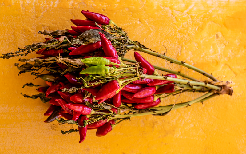 Bunch of fresh red peppers hanging on a yellow wall in Puglia, South Italy