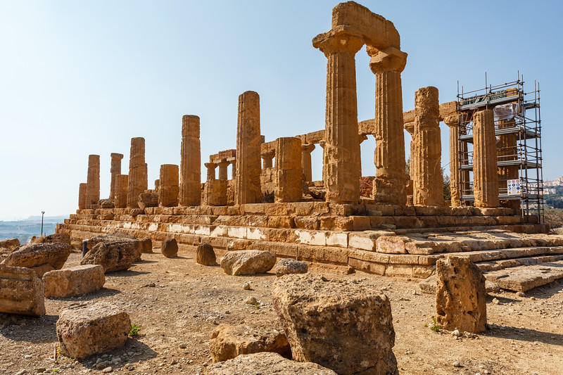 Ruins of the temple of Juno in the Valle dei Templi (Valley of the Temples) in Agrigento, Sicily, Italy - Europe