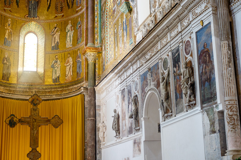 Interior of the Duomo di Cefalu cathedral in Cefalu, Sicily, Italy, Europe