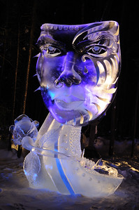 FAIRBANKS, AK - FEBRUARY 27: Mask Ice Sculpture, 2011 World Ice Art Championships on February 27, 2011 in Fairbanks, AK